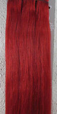 """New 15"""" Clip In RemyReal Human Hair Extensions Straight 75g#Red"""