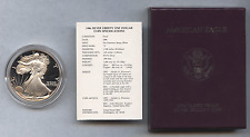 1986 S United States American Silver Eagle Proof Silver Dollar in Box with COA