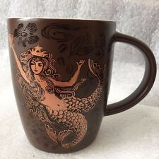 2011 Starbucks Anniversary Mug Siren Mermaid Copper Brown 12oz Ceramic