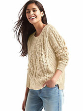 £65 NWT GAP CREAM IVORY BEADED SPARKLE CABLE KNIT JUMPER SWEATER S SMALL 8 4 36