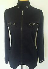 Women's Anne Fontaine Louise Black Silver Studded Zipped Jacket Sz 40