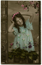 Circa 1908 Young Girl in BLUE DRESS edwardian tinted photo postcard