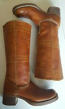 Vintage Frye boots 70's campus longhorn black label 8 8.5 motorcycle square toe