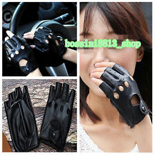 Black Women Leather PU Gloves Half Finger Fingerless Stage Sport Cycling Driving