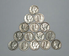 Lot of 15 Mercury Dimes, 90% Silver Coins, $1.50 Face Value