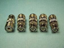 5 COAX ADAPTERS UHF FEMALE SO-239 SO239 TO BNC MALE RF CONNECTOR NEW