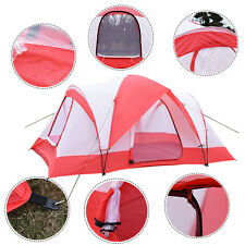 Waterproof 10 Person Camping Tent Outdoor Hiking Double Layer Backpack Red/Whit