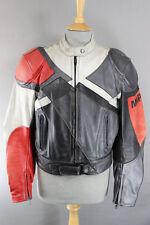 MQP Negro, Plata, gris + Rojo cuero de motorista jacket+removable Protector De Espalda 40