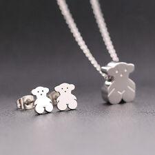 Necklace+Earrings Bear Pendant Gold/Silver Stainless Steel Women's Jewellery Set