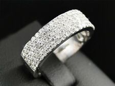 10K White Gold 1/10CT Diamond ETERNITY Wedding Engagement Band Pave 3D Mens Ring
