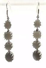 Sterling Silver 925 Multi Shape Gray Cat's Eye Long Drop Dangle Hook Earrings