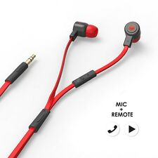 MQbix MQGT26BLK Talking AeroFones  Earphones with Mic Flat Cable Black