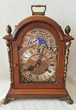 Big Hermle Shelf Mantel Clock 1975 Moonphase Strikes Double Bell Nut Wood