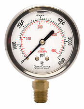 "2-1/2"" Oil Filled Pressure Gauge - SS/Br 1/4"" NPT Lower Mount 6000PSI"
