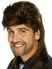Mens 80's Mullet Wig Brown Funny 1980s TV Fancy Dress Hair UK