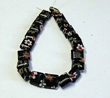 "HANDMADE LAMPWORK GLASS BEADS , "" BLACK MILLIFIORI """