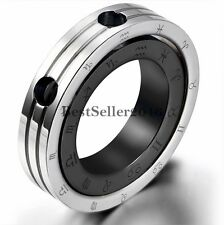 Stainless Steel Zodiac Constellation Couple Rings Pendant Charm Necklace for Men