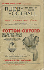 The Laws of RUGBY FOOTBALL 1932-33 with Hints to Players pub by Cricket Press