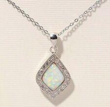 "Elegant White Fire Opal Zircon Silver  Pendant 1 1/4"" Necklace"