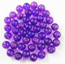 100Pcs 6mm Purple Transparent Round Glass Spacer Loose Beads  W12