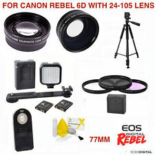 WIDE ANGLE LENS TELEPHOTO LENS + VIDEO KIT  FOR CANON EOS 6D with 24-105mm Lens