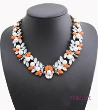 Bright Orange, White and Blue Statement Chain Floral Necklace with Faux Pearls