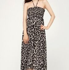 Womens Halter Neck Leopard Printed Empire Waist One Piece Dress Size M NWT