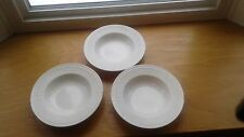 "Mikasa White Italian Countryside 9 1/4"" Wide Rim Soup Pasta Bowls DD900 Set of 3"