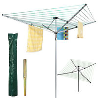 4 Arm 40M 50M Garden Rotary Airer Clothes Dryer Washing Line Cover Ground Spike