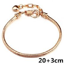 ROSE GOLD PLATED HEART CHARM SNAKE CHAIN BRACELET. 8''