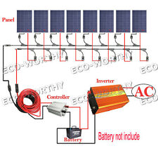 800W Off Grid System 8*100W Solar Panel + 3KW 110V Pure Sine Inverter for Home