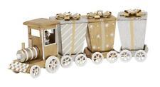 SILVER ORO treno in legno Decorazione di Natale - 30cm di lunghezza. commercio Equo E Solidale