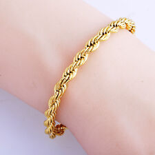 Womens Mens Fashion jewelry 14k Gold Filled Rope chain Bracelet Wholesale