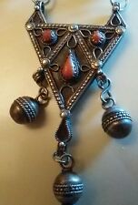 ancien collier orientaliste berbere  kabyle argent massif emaille