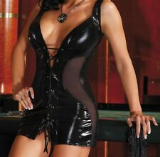Sexy Black Shiny Faux wet look Lace up dress see-through panels thong
