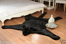 Fake Faux Fur PANTHER skin PLUSH Black RUG with head 84,5x68,9 inch new Ecology