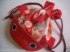 NEW! Chirimen Japanese crape cloth Pouch GOLDFISH RED kincyaku Kawaii! japan