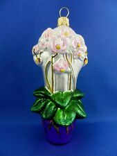 Pot Of Orchids Flowers Blown Glass Christmas Tree Ornament Poland 011256