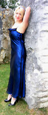 NWOT SELECT LONG ELECTRIC BLUE EVENING DRESS + BLACK MESH LAYER 10  PROM BALL