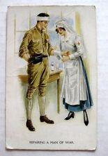 1910s WWI Red Cross Nurse Helping Soilder Postcard
