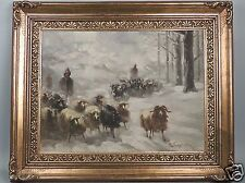 Vassilis Germenis Greek Oil on Board Painting of a Shepherd with Goats - 2D