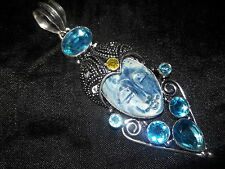 "LOVELY HUGE CARVED FACE GODDESS SWISS BLUE TOPAZ CITRINE SILVER PENDANT 4"" 33GMS"