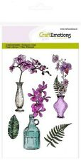 Craft Emotions Cling Rubber Clear Stamps A6 ORCHID VASES & BOTTLE 1242
