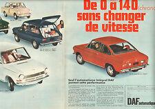Publicité Advertising 1968 (Double page) DAF automatique Coupé Sport DAF 55 CS