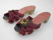 Vintage 1940's WW2 Philippines Hand Carved Painted Wood Sandals Shoes
