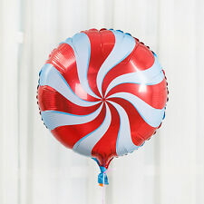 "18"" Red Round Lollipop Swirl Windmill Foil Balloons Birthday Party Decoration"
