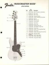 VINTAGE AD SHEET #3628 - FENDER GUITAR PARTS LIST - MUSICMASTER BASS 18-0700