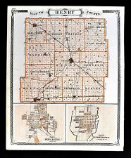 1876 Indiana Map Henry County New Castle Knightstown & Richmond City Plan Wayne