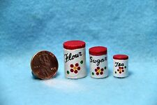 Dollhouse Miniature Wooden Canister Set ~ Red Flowers K4117