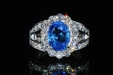 Certified Natural 5.2CTS VVS E Diamond Sapphire 18K Solid Gold Dinner Ring Band